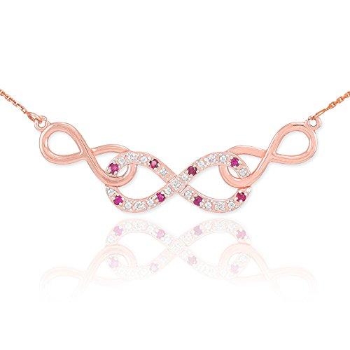 14 ct 585/1000 Or Rose Rubis Triple Infinite-Collier Avec Diamants