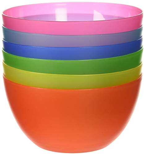 (6 Pc Fun Multi-Colored BPA-Free Bowls - Cereal Fruit or Soup Bowl)