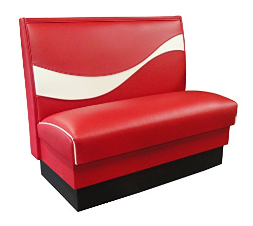 Vitro Seating Products CDRB-4436 Coke Dynamic Ribbon Booth, 44'' Long x 36'' High, Red and White by Vitro Seating Products