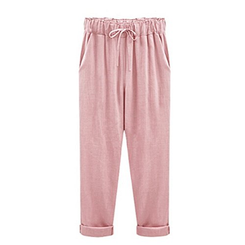 Zeshlla Essential Fashion Modern Plus Size Casual Women Cotton Linen Pants Elastic Waist Summer Slim Lady Pants Pink (Iron On Knee Patches For Snow Pants)