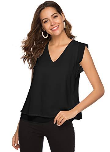 Alice CO Women's Summer Chiffon Cap Sleeve V-Neck Layered Blouse Shirts Casual Flowy Tank Tops (X-Large, Black) Black Cap Sleeve Top