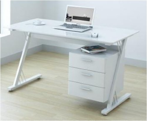 office desk glass. U-Office Glass And Gloss White Computer Office Desk Workstation: Amazon.co.uk: Kitchen \u0026 Home A