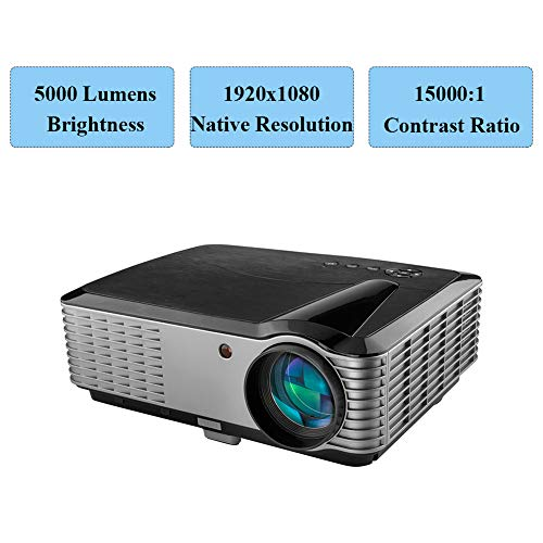5000 Lumens Projector,1080P Native LED Projector Full HD, 4K Support, 15000:1 Home Theater Projector 50