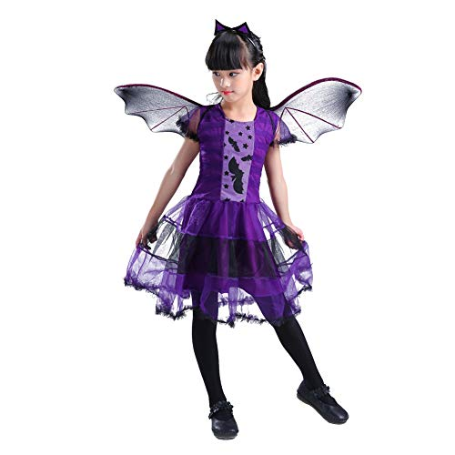 Timall Girls Witch Hallowenn Costume Cosplay Clothing Halloween Devil Masquerade Costume Skirt Bat -