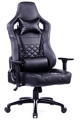 Blue Whale Big and Tall Gaming Chair PC Computer Video Gaming Chair with Massage Lumbar Cushion Ergonomic Gamer PU Leather Chair High Back Office Desk Reclining Chair with Heavy Duty Matel Base Black