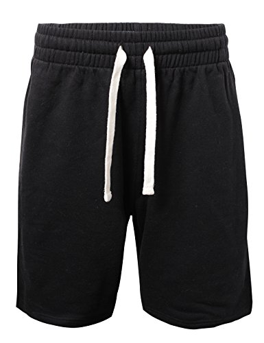 ProGo Men's Casual Basic Fleece Marled Shorts Pants with Elastic Waist (Black, Large) (Joggers Shorts)