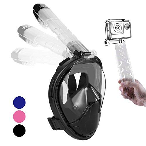 Replacement Breathing Tube (Snorkel Mask Full Face 2018 Newest Foldable Diving Mask Detachable Snorkeling Mask 180° Large View Free Breathing Full Face Anti-Fog Anti-Leak Design Snorkel Masks Set for Kids Adults Youth Black L)