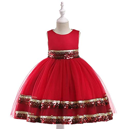 NOMSOCR Kids Sleeveless Lace Costume Princess Pageant Dress Girl Prom Ball Gown (3-4 Years, Red)