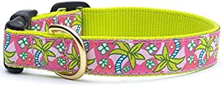 product image for Up Country Tropical Pink & Green Palm Trees Premium Ribbon Dog Collar