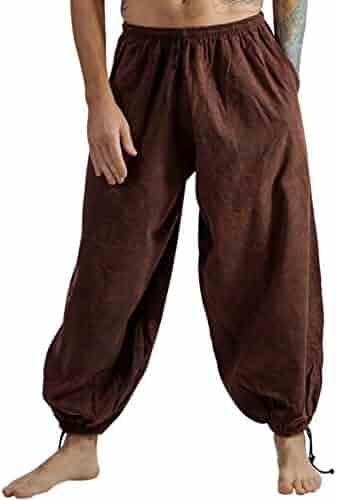 zootzu Short Thai Fisherman Pants Martial Arts Mens Yoga Pants Black