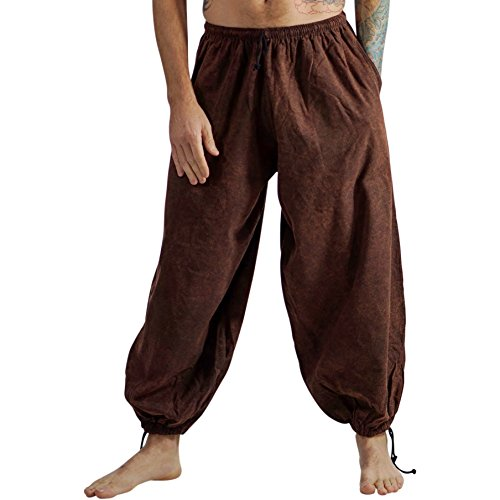 Baggy Pirate Pants Renaissance Festival Costuming Cotton Mens Pants - Stonewashed -