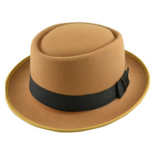 Heisenberg Kid Costume (XCOSER Men's Walt Style Porkpie Fedora Flat Top Homburg Hat Cap Camel)