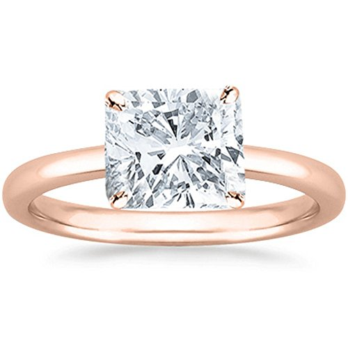 1 Carat GIA Certified 14K Rose Gold Solitaire Cushion Cut Diamond Engagement Ring (1 Ct D-E Color, SI1-SI2 (Si1 Cushion Cut Diamond Solitaire)
