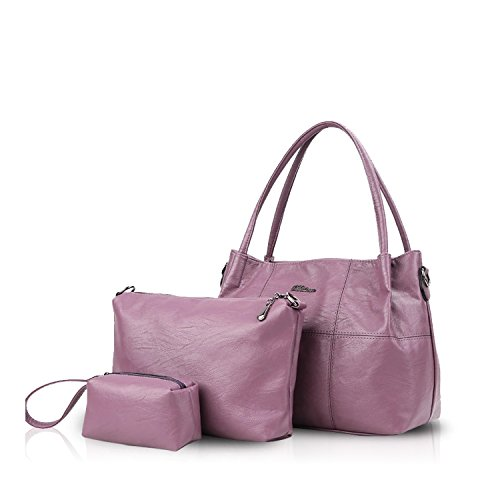 NICOLE&DORIS Bolsos de Mano para Mujer Monederos Bolso Crossbody Mujer Bolso de Bandolera 3PCS Bolso Durable PU Púrpura