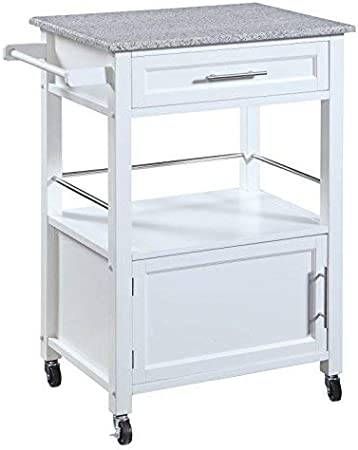 White Linon Storage Cart On Wheels With Granite Top Great For Small Kitchens Kitchen Islands Carts Amazon Com