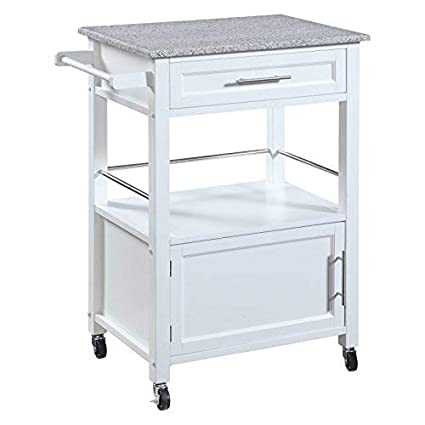 White Linon Storage Cart On Wheels With Granite Top Great For Small Kitchens