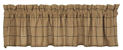 New IHF Burlap Check Design Window Curtain Valance 100% Cotton 72 x 14 Inches Natural Sand Color Review