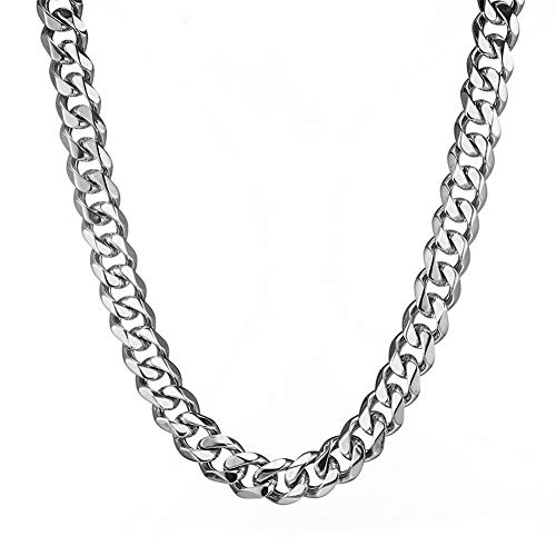 Mens Stainless Steel Silver Tone 25 inch 15MM Heavy Cuban Curb Link Chain Necklace ()