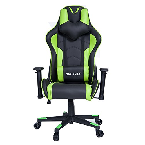 Merax U-Knight Series Racing Style Gaming Chair Ergonomic High Back PU Leather (Green and Black) by Merax
