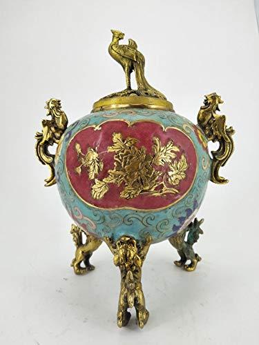 Decorative Sculpture Chinese Antique Cloisonne Censer Bronze Hand-Carved Phoenix Lion Choked-Wire Enamel Censer ()