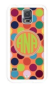 iZERCASE Samsung Galaxy S5 Case Monogram Personalized Colorful Polkadots Pattern RUBBER CASE - Fits Samsung Galaxy S5 T-Mobile, Sprint, Verizon and International (White) wangjiang maoyi