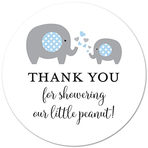 40 cnt Blue Elephant Thank You Stickers, Little Peanut Baby Shower Favor Stickers