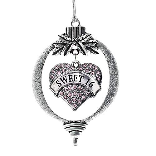 Inspired Silver - Pink Sweet 16 Charm Ornament - Silver Pave Heart Charm Holiday Ornaments with Cubic Zirconia Jewelry