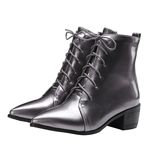 Dear Time Women Lace Up Pointed Toe Ankle Boots Gun O1MwJZaFUH