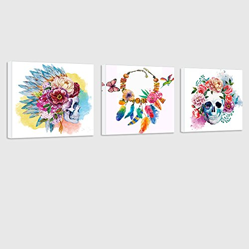 Visual Art Decor Abstract Skull Canvas Wall Art Poster Decal Art Watercolor Flowers Decor Skull Feather Painting Prints Decor Ready to Hang (Skull Wall Mirror)