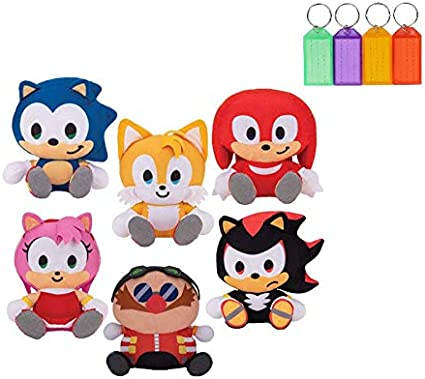 Amazon Com Sonic The Hedgehog Shadow Tails Knuckles Amy Dr Eggman Plush Stuffed Figure Official Licensed Bonus With Name Tag Set Of 6 Toys Games