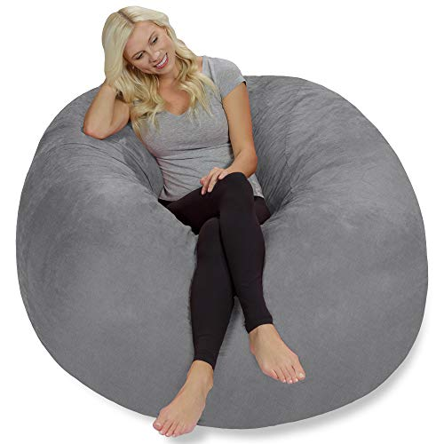 Chill Sack Bean Bag Chair: Giant 5' Memory Foam Furniture Bean Bag - Big Sofa with Soft Faux Linen Cover