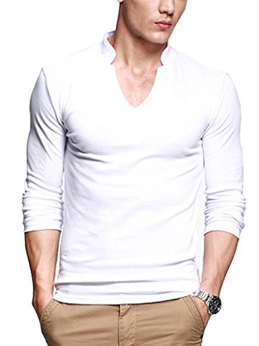 iLoveSIA Mens T-Shirts Long Sleeves Cotton Slim V-Neck Casual Shirt White M Fit Chest 37