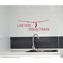Wall Décor Plus More WDPM3147 Seeking Partner Laundry Room Wall Decal Sticker, 23-Inch X 8.5-Inch, Red