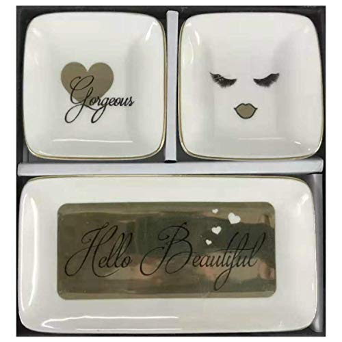 Andware Luxury Ceramic Jewelry Dish Set Hello Beautiful - Gorgeous, for HER