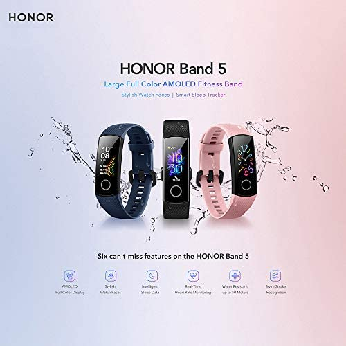 Docooler Honor Band 5 Smart Bracelet Watch Faces Smart Fitness Timer Intelligent Sleep Data Real-Time Heart Rate Monitoring 5ATM Waterproof Swim Stroke Recognition BT 4.2 Wristwatch 7