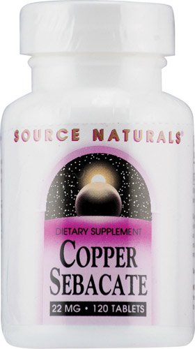 Source Naturals Copper Sebacate -- 22 mg - 120 Tablets - 2PC