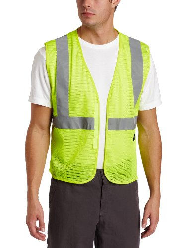 Key Apparel Men's Mesh Vest High Visibility Reflective Stripe Velcro Closure, Hi-vis, Medium-Regular