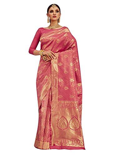 Designer Sarees Woven Work Banarasi Silk Saree for women With Unstitched Blouse Piece (Pink 2) (Dress Two Piece Georgette)