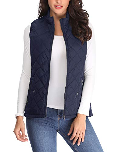 - Women's Stand Collar Lightweight Padded Zip up Sleeveless Vest Warm in Winter Quilted Gilets Navy Blue Medium