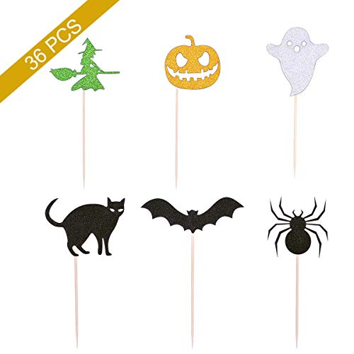 YoungRich 36 PCS Halloween Cupcake Toppers Halloween Picks Decoration Glitter Colorful Cardstock Spider Pumpkin Ghost Witch Bat Black Cat Party Decor for Cake Cookies Ice Cream Food Fruit 12cm/4.7inch