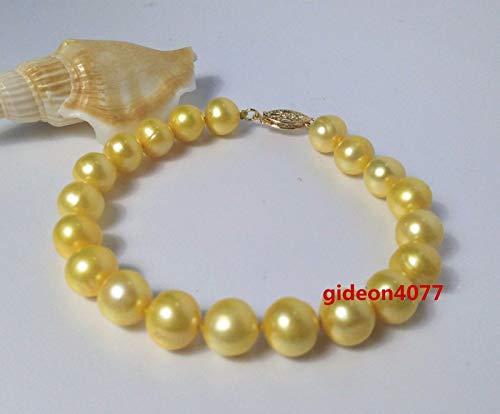 (FidgetFidget Stunning AAA+ 8-9mm Natural South seas Yellow Pearl Bracelet 7.5-8 inch 14K)