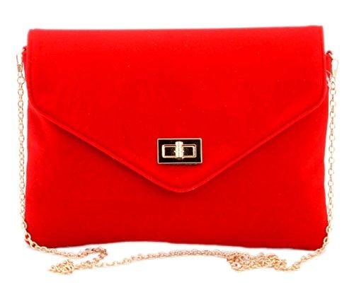 busta della sera da Borsa borsa velluto rosso frizione Girly della borse Rosso pSnBqSWZ