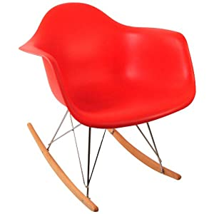 Control Brand DC-311W Red Adult Sized Mid Century Rocking Chair with Arms and Ash Wood Sleighs