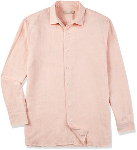 Isle Bay Linens Men's Linen Cotton Blend Long Sleeve Woven Casual Shirt Standard Fit Chambray Coral X-Large ()