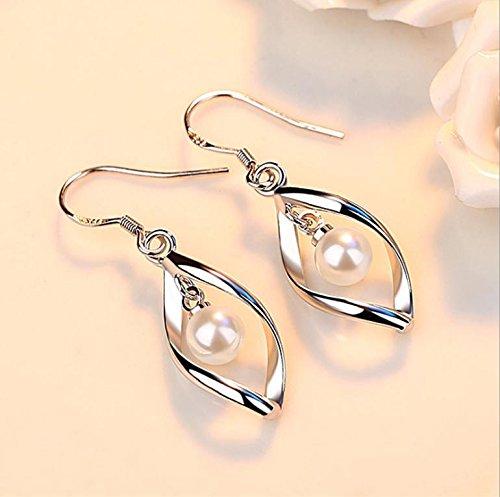 usongs women girls models pearl earrings jewelry earrings silver earrings earrings twisted ()