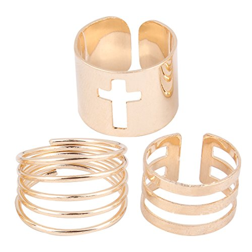 TomSunlight Vintage 3pcs Gold Plated Cross Sexy Hollow Joint Knuckle Nail Midi Ring Set