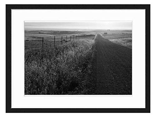 Amymami Art Print Wall Picture (Black White 20x14 inch) - Track Dirt Road Way Street Countryside Rural (Best Way To Sell Farmland)