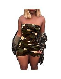 Sumen Women Camouflage Boob TubeTop Jumpsuits Rompers Short Pants Playsuit