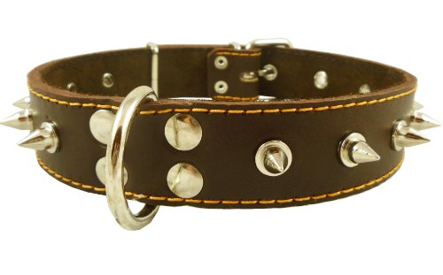 Real Leather Brown Spiked Dog Collar Spikes, 1.5″ Wide. Fits 17″-21.5″ Neck, Large Breeds., My Pet Supplies