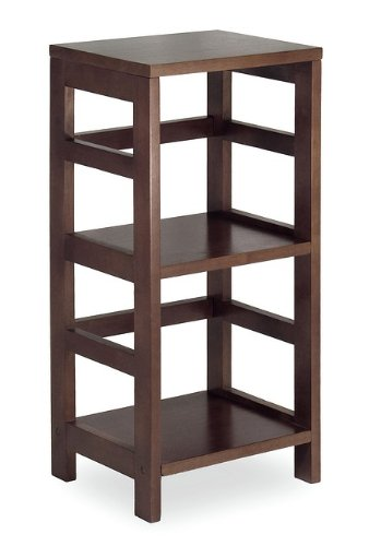 Square Display Table with 2 Shelves in Espresso